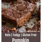 slices of keto pumpkin brownies