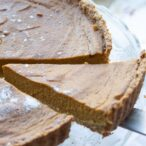 a slice of sugar free pumpkin pie
