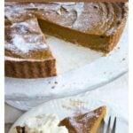 a slice of sugar free pumpkin pie and a pumpkin pie on a cake stand