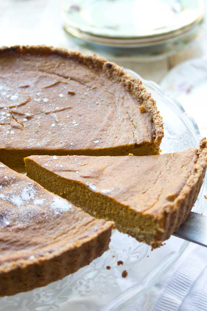 slice of sugar free pumpkin pie