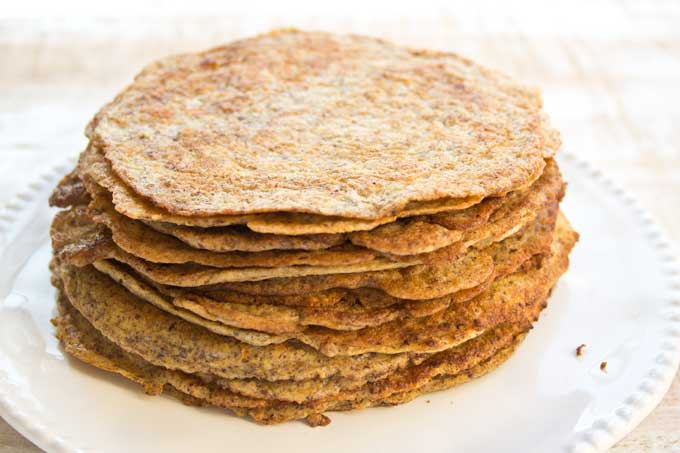 stack of flaxseed low carb wraps on a plate