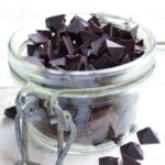 a jar with homemade sugar free chocolate chips