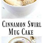 a cinnamon swirl coconut flour mug cake in a mug and a spoon