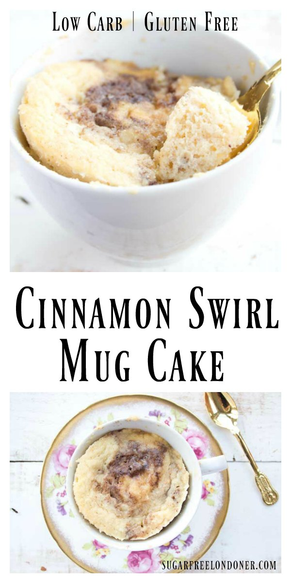 You'll love this sugar free, guilt-free treat! This moist coconut flour mug cake has a delicious cinnamon swirl and is ready in minutes. The recipe is low carb, keto and gluten free.