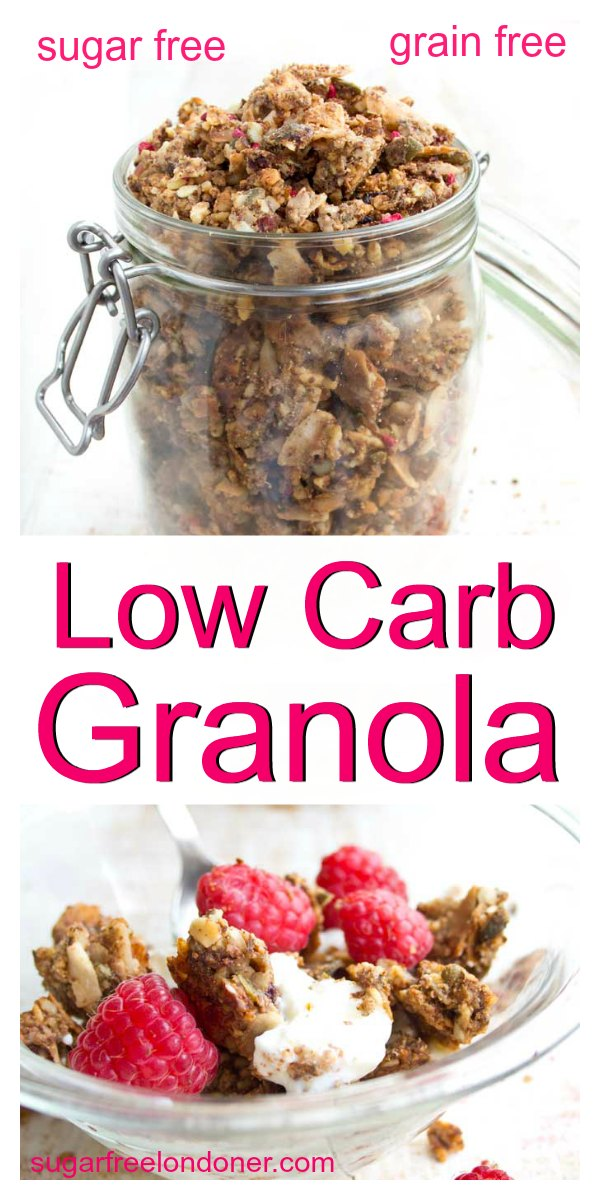 A low carb granola that will satisfy any cereal craving! This sugar free, grain free granola is a nutrient-packed breakfast that will set you up for the day. Keto and gluten free! #lowcarbgranola #granola