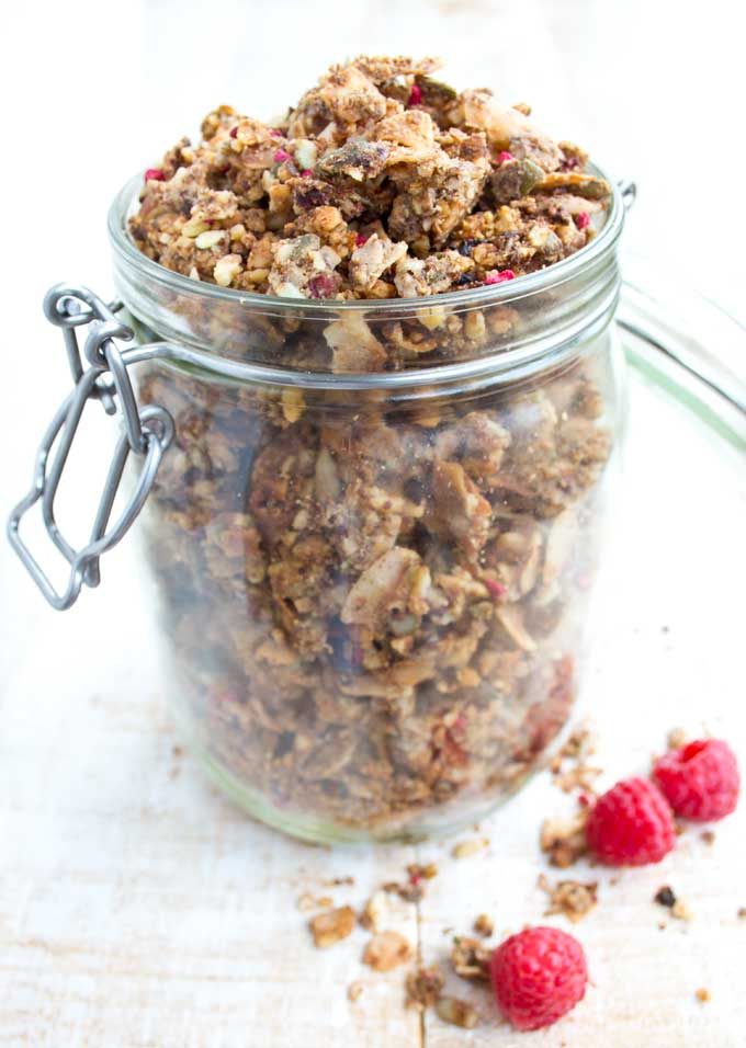 jar filled with low carb granola