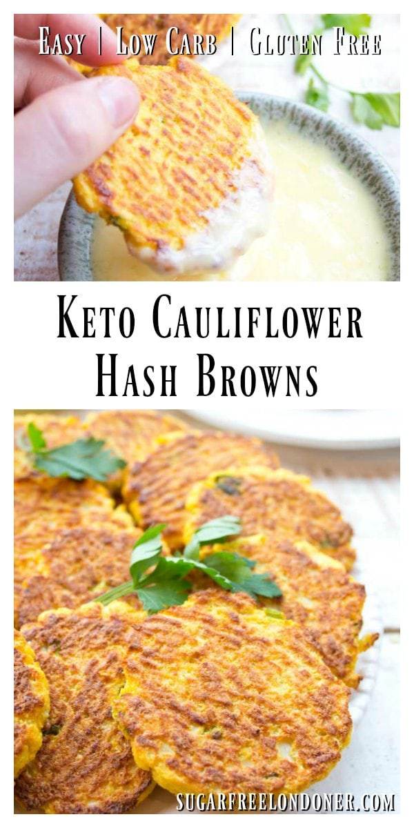 These low carb cauliflower hash browns are so crispy and tasty - there's no need to miss traditional hash browns made with potatoes! Try these turmeric-spiced cauliflower fritters for breakfast, as a snack or as a side for lunch or dinner. Gluten free, Keto comfort food! #cauliflower #hashbrowns