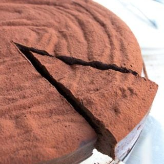 Cutting a slice of keto chocolate cake