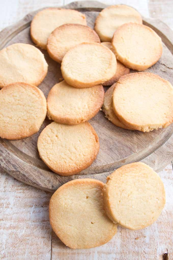keto sugar cookies on a wooden board