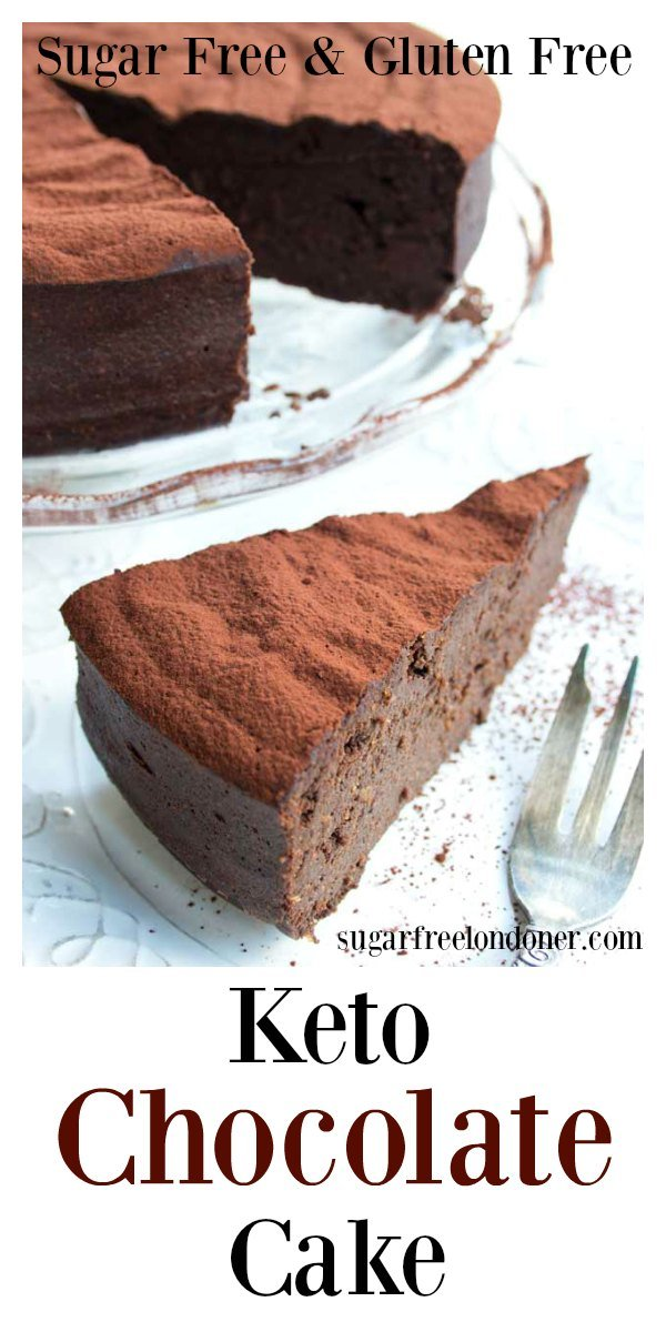 This easy 5 ingredient keto chocolate cake is to die for! It is incredibly moist, rich and chocolatey and comes in at only 2.5 net carbs per slice. The recipe is low carb, sugar free and gluten free. #chocolatecake #ketochocolatecake