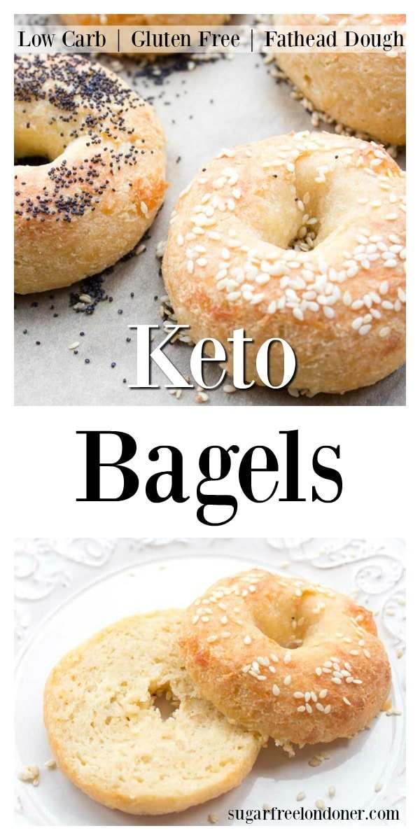 You'll love these soft and chewy Keto bagels! This easy low carb bagel recipe is made with Fathead dough, which means it's gluten free and grain free. Keto breakfast has never been more delicious. #bagels #lowcarb #keto