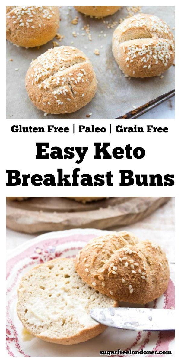 Soft and pillowy Keto buns that taste similar to wheat bread, but with a fraction of the carbs! They are easy to make and work with both sweet and savoury toppings. Great for breakfast, these low carb rolls can also double up as a burger bun. The recipe is gluten free, Paleo and dairy free. #lowcarb #ketobuns #ketorolls