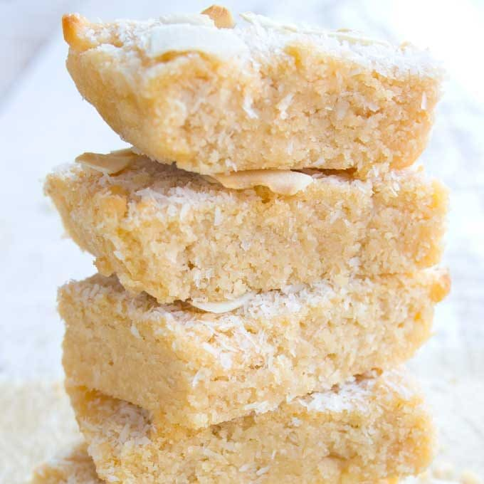 a stack of coconut Keto blondies