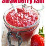 a glass jar with strawberry jam