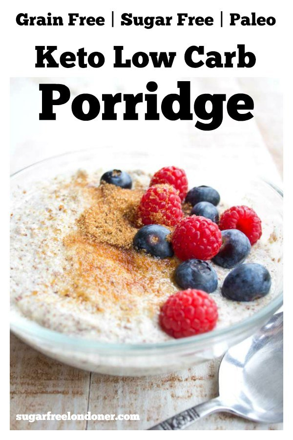 keto low carb porridge decorated with berries