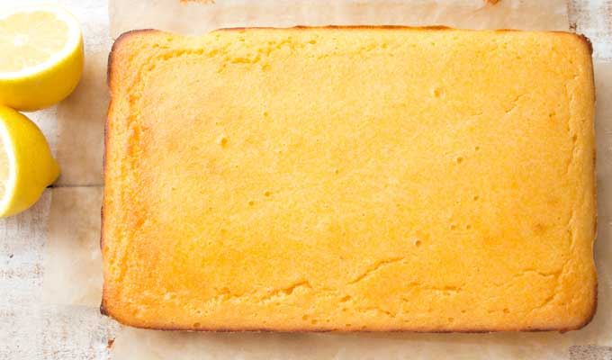 the rectangular Keto lemon cake after baking