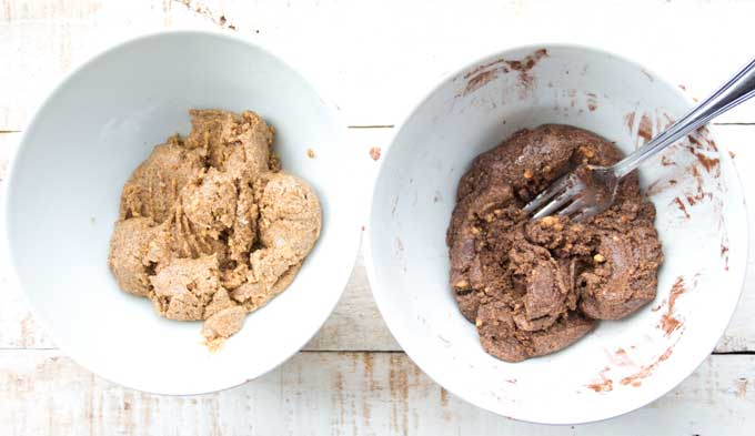 dough for peanut butter protein bars in two bowls
