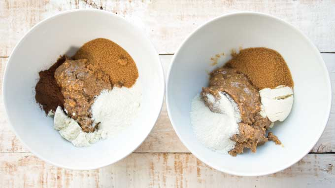 ingredients for peanut butter protein bars in two bowls