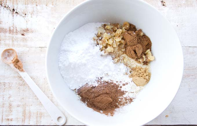 dry ingredients for keto carrot cake in a white bowl
