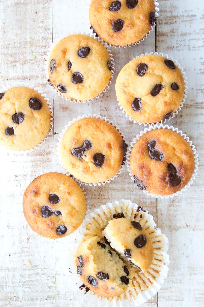 chocolate chip muffins made with almond flour in their paper cases on a white wooden surface