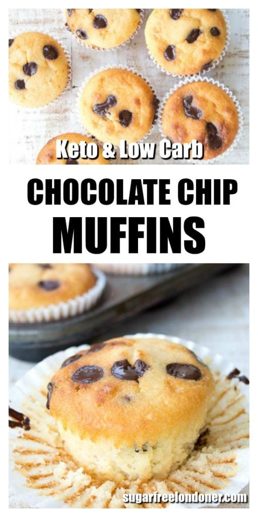 a chocolate chip muffin with an opened paper case around it and more keto muffins on a table