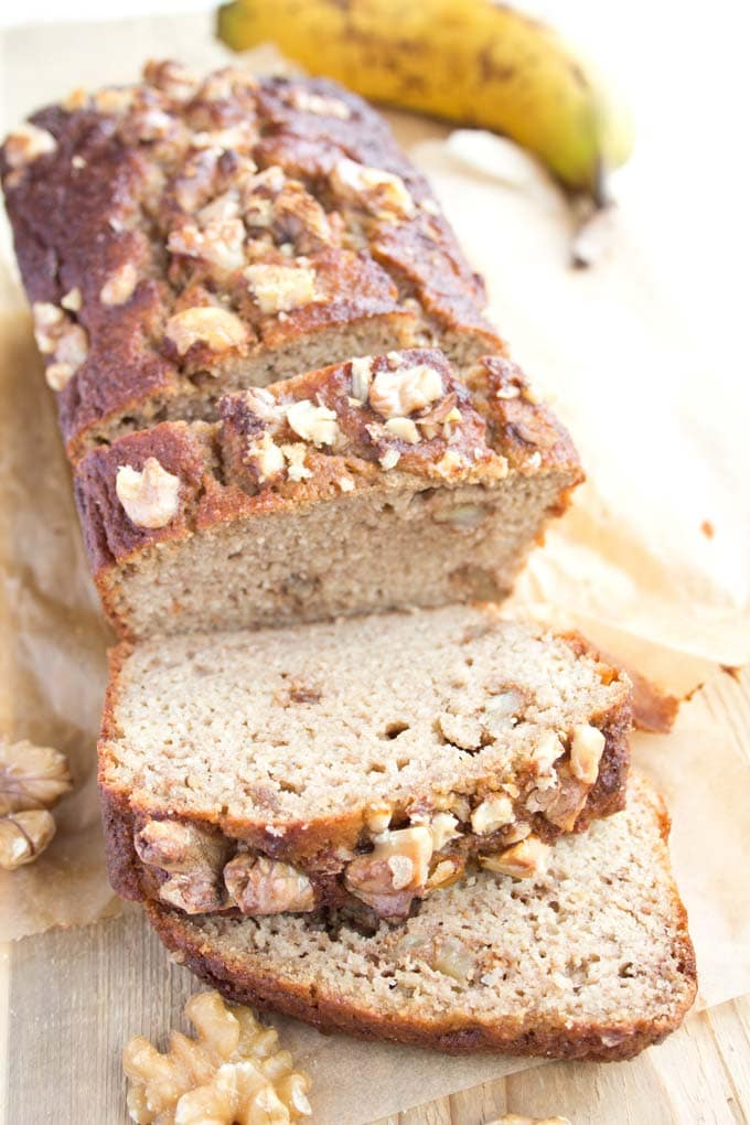 sliced sugar free banana bread