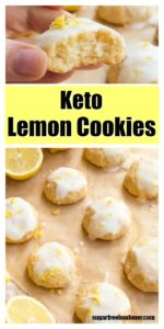 keto lemon cookies with a lemon glaze on parchment paper and lemon halves