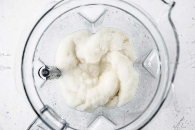 smooth lemon sorbet in a food processor