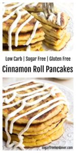 a stack of low carb cinnamon swirl pancakes with cream cheese frosting and a fork