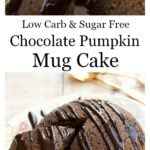 a chocolate mug cake with chocolate drizzle