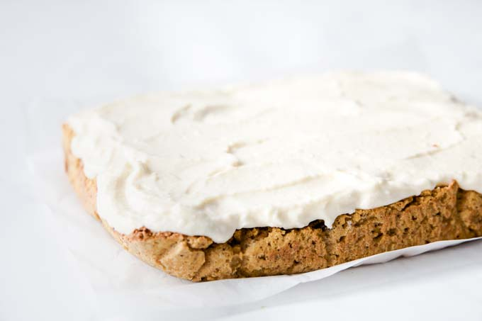 sugar free pumpkin bars with cream cheese frosting