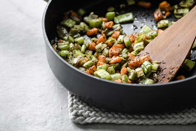 chopped vegetables in a pan