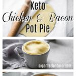 4 steps showing how to make a keto chicken pot pie