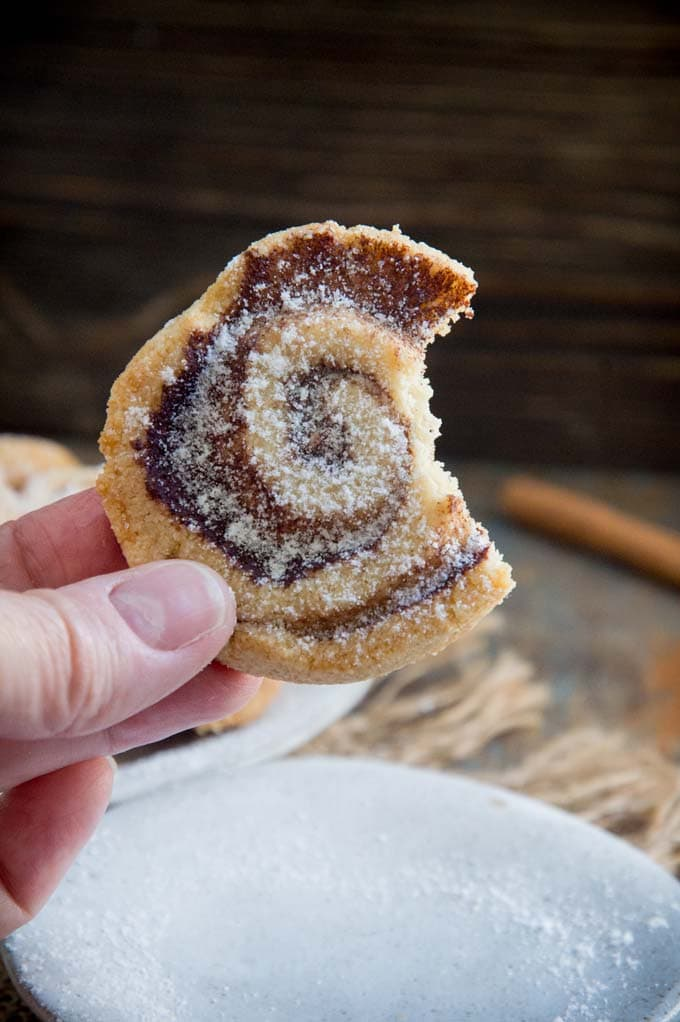 hand holding a cinnamon shortbread cookie
