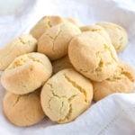 almond flour biscuits aka speedy savoury scones heaped on a white cloth