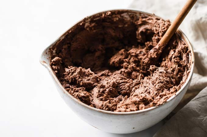 chocolate cheesecake mix in a mixing bowl