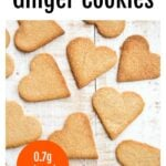 heart-shaped keto ginger cookies on a table