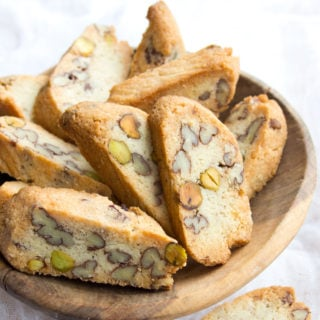 keto biscotti made with almond flour and nuts in a wooden bowl