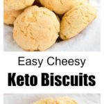 keto biscuits with grated cheese on a white table cloth and a biscuit cut open