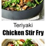 a pan and a bowl with teriyaki chicken and green vegetables