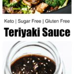a glass jar with keto teriyaki sauce and a chicken teriyaki stir-fry