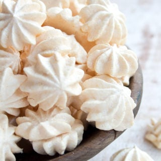 sugar free meringues in a wooden bowl