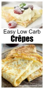 low carb crepes on a plate topped with cream and berries