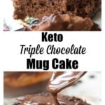 a keto chocolate mug cake with chocolate sauce