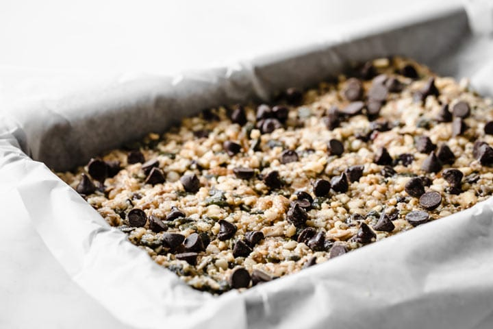 sugar free granola bar mix pressed into a baking tray