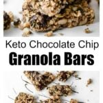 keto granola bars stack with chocolate drizzle