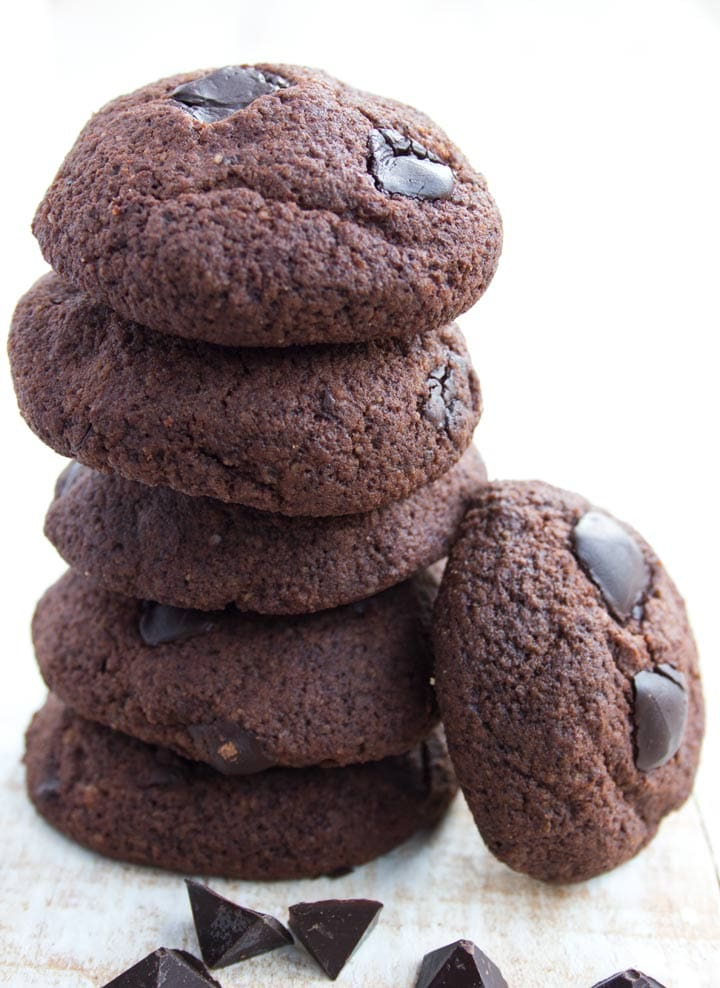 a stack of keto chocolate cookies