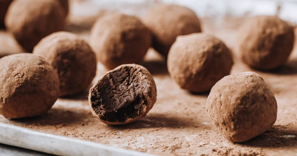 truffles dusted in cacao powder