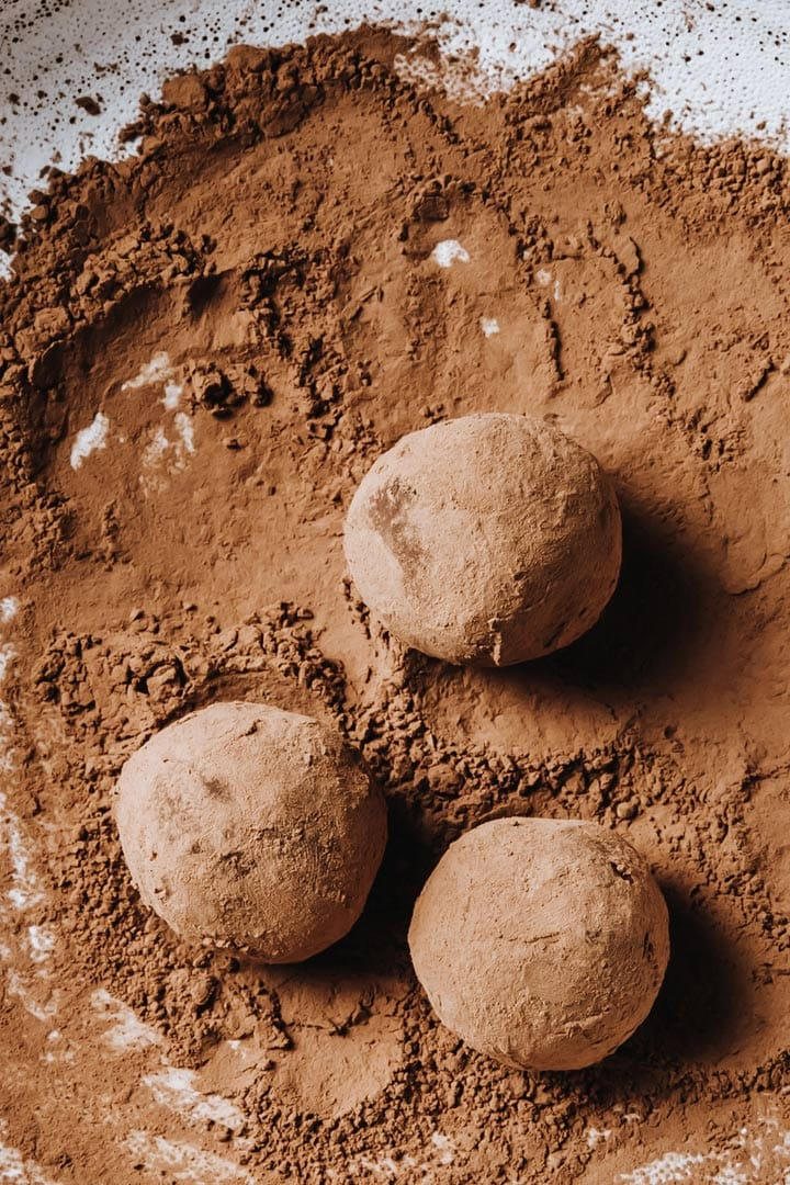 keto truffles rolled and dusted in cacao powder