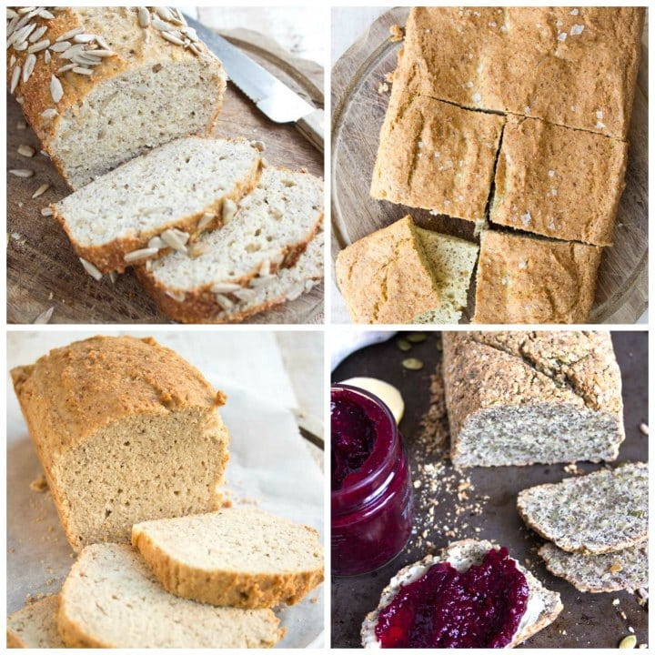 collage of 4 low carb bread recipes